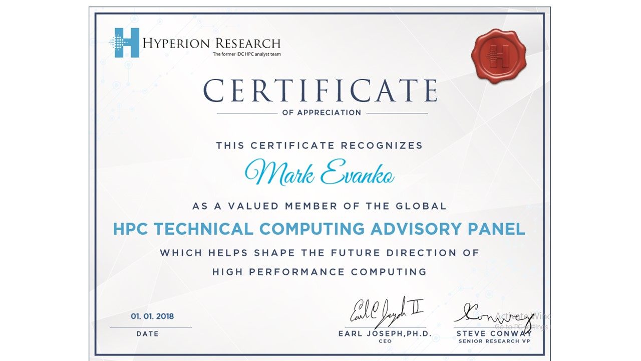 mark evanko receives certificate of appreciation from high